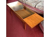 Vintage Mid Century Modern wood and glass coffee table