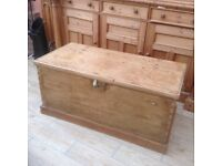 Large vintage waxed pine chest/blanket box original handles and hinges