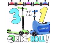 Kids Tri Folding Scooter Push 3 Wheel With Storage Box And Carry Strap 3 in 1