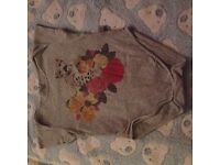 Stella McCartney Grey Leopard Vest with Yellow, Red & Pink Roses. 18 months