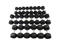 10kg - 35kg Rubber Hex Dumbbell Set - 10 Pairs - Weights Gym