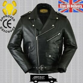 MEN'S STYLE 100% REAL COWHIDE LEATHER JACKET