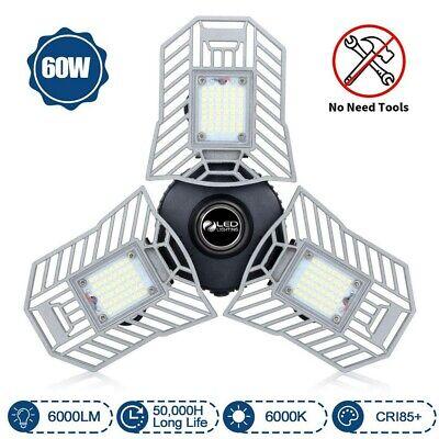 80w Deformable Led Garage Light 8000lm Panels Ceiling Lights E27 High Bay Lamp