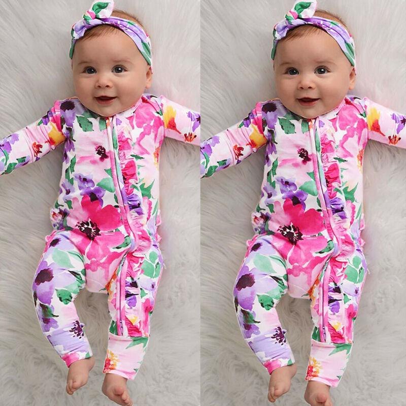 US Toddler Newborn Baby Girl Floral Zipper Cotton Romper Jum