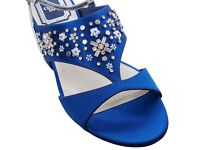 NEW Authentic Dior satin blue beaded sandals RRP £740
