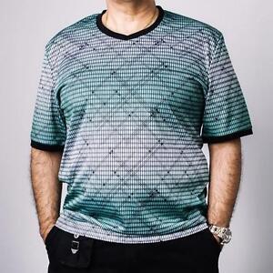 New mens venezzi silk rayon printed v neck green casual for Mens rayon dress shirts