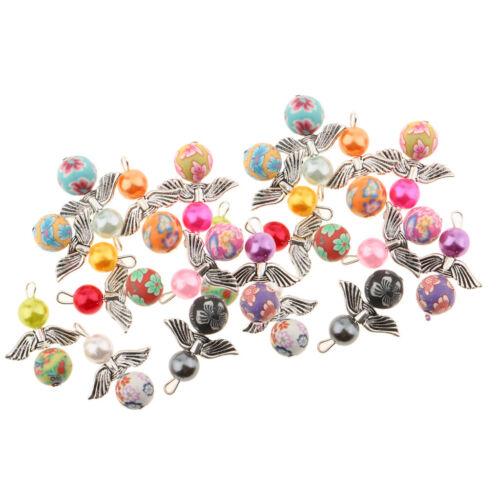 Lot 20 Perles en pate polymère faites à la main couleur mélangée 10mm