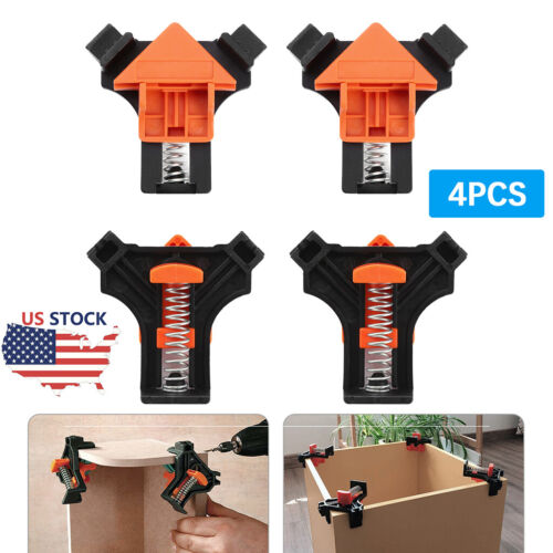 4Pcs 90 Degree Right Angle Clip Clamps Corner Holders Woodworking Hand Tool USA