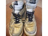 NIKE AIR FORCE 1, USED, SPRAY PAINTED GOLD, SCUFFS, UK SIZE 11
