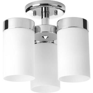 Progress Lighting P350040-015 Elevate Three-Light Flush Mount, Polished Nickel/Delta NEW