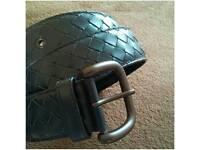 100% Authentic Brand New & Unworn Woven Leather Bottega Veneta Belt b/w Gunmetal Grey Hardware