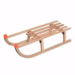 Wooden Baby Sleigh Snow Sled Folding Ski Sliding Snowmobile Outdoor Sport Wooden Sledge