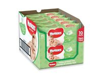 10 individual pks of Huggies Natural Care Baby Wipes. With Vitamin E & aloe vera