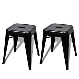 Stacking Stools 2 pcs Black Metal-241537