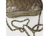 Gold metallic handbag with gold chain