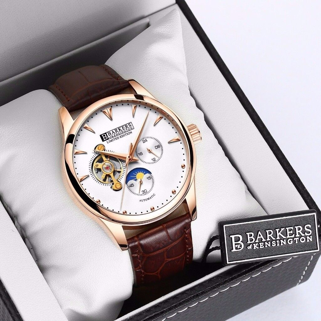 For sale, Brand New Barkers of Kensington Rose Automatic limited edition brown leather strap watch.