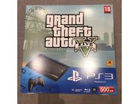 Sony Playstation 3 Super Slim 500GB GTA V Bundle. DualShock 3 Official Remote. Boxed, Mint Condition