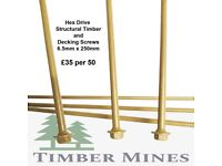 Hex Drive Structural Timber and Decking Screws. 6.5mm x 250mm. £35 per box (50)
