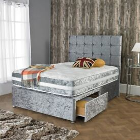 Brand New Crush velvet Divan Beds Sets with mattress for quick delivery