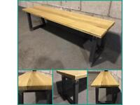 Bench/Industrial/Solid Oak timber/bespoke/Furniture/Home/kitchen/hallway