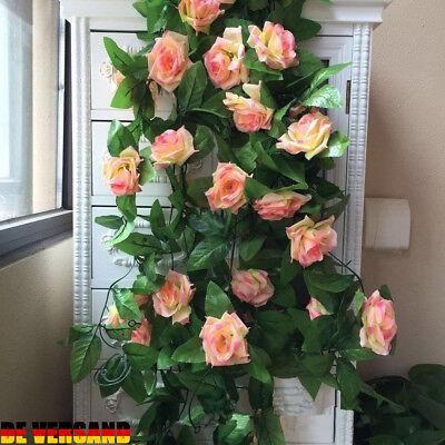 2 x Rose Garland Seidenblumen Rose Vine Kunstblumen Zuhause Hochzeit Deko DE