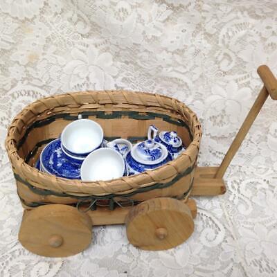 Vintage Ocupado Japón Azul Sauce 18pc de Niño Juego de Té con...