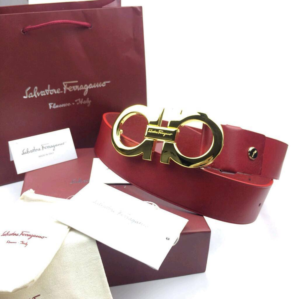 Gold buckle oversized big BUCKLE red smooth leather ferragamo belt boxed complete