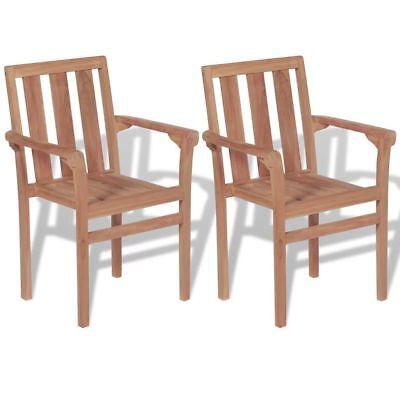 Garden Furniture - vidaXL Set of 2 Stackable Teak Chairs Solid Wood Patio Outdoor Garden Furniture