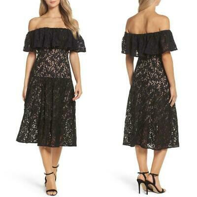 Cooper ST~ Black Ruffle Popover Off-Shoulder A-Line Midi Party Dress 4 NEW $229