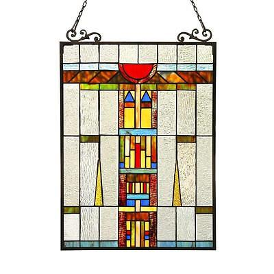 """Stained Glass Chloe Lighting Window Panel CH3P701CB24-GPN 17.5 X 25"""" Handcrafted"""