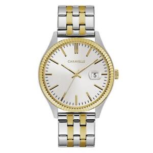 Caravelle 45B148 Men's Silver Tone Dial Two Tone Steel Date Watch