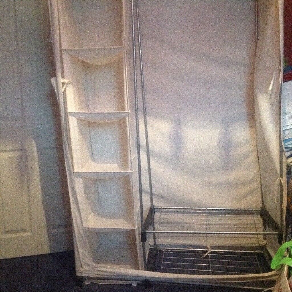 Cream Canvas Framed Double Wardrobe With Additional Storage