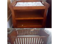 Cotbed and baby changing table