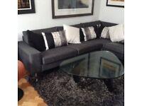L shaped designer sofa by Bo Concept for sale at bargain