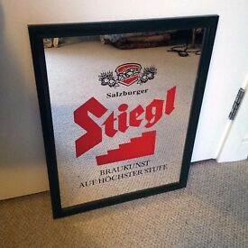 Vintage Stiegl beer advertising picture pub brewery mirror