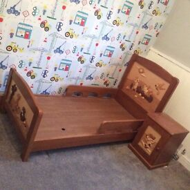 Disney character chipmunk toddler bed with bedside table