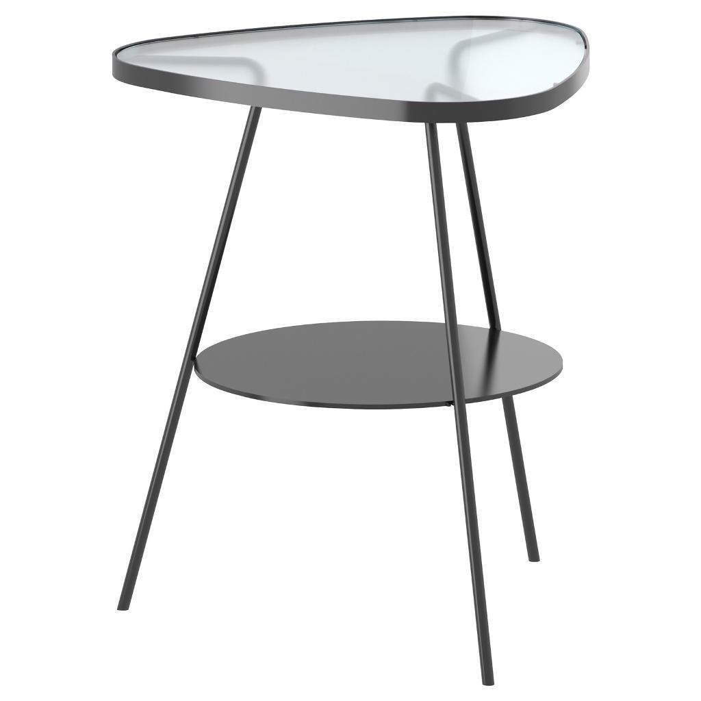 Ikea Ulsberg Bedside Side Table Black Frosted Gl Vintage Retro