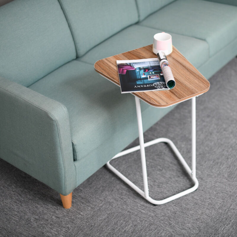 Snack TV Tray for Small Spaces C-Shaped Side Sofa End Table