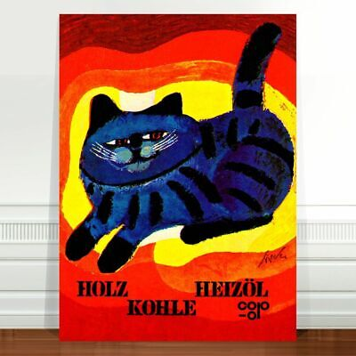 "Vintage Advertising Cat Poster Art ~ CANVAS PRINT 8x10"" ~ Holz Heizol Kohle"