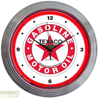 TEXACO GASOLINE MOTOR OIL 15 Neon Wall Clock Glass Face Chrome Case 8TXOIL New