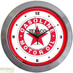TEXACO GASOLINE MOTOR OIL 15 Neon Wall Clock Glass Face Chrome Case 8TXOIL New