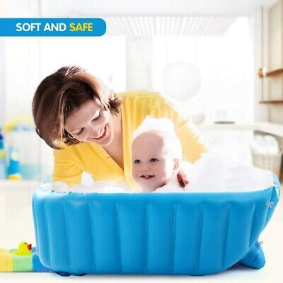 Baby Kids Toddler Inflatable Bathtub Newborn Thick Non Slip Bathing Tub Portable
