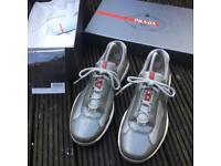 Prada grey patent trainers size 5