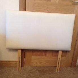 Single leather look creamy white single headboard