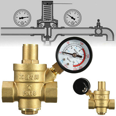 Brass Water Pressure Regulator With Gauge For Camper Adjust Pn 1.6 12