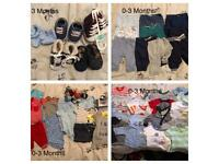 Large selection of boys clothes 0-3 Months