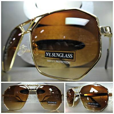 OVERSIZED VINTAGE 70's RETRO Style SUN GLASSES Large Gold Metal Frame Brown Lens