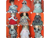 9 x Porcelain Dolls all from the Leonardo Collection