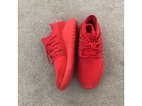 Red Adidas Tubulars size 8 Excellent condition
