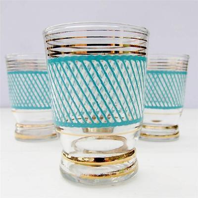 Vintage Shot Glasses Set 4 Turquoise Retro 60's 70's
